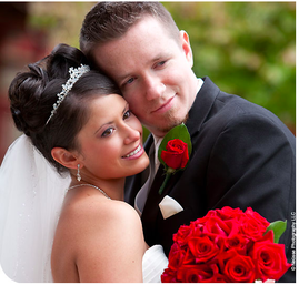 Sweetheart pose bride and groom on wedding day from testimonial - Heather and Jason Woolson