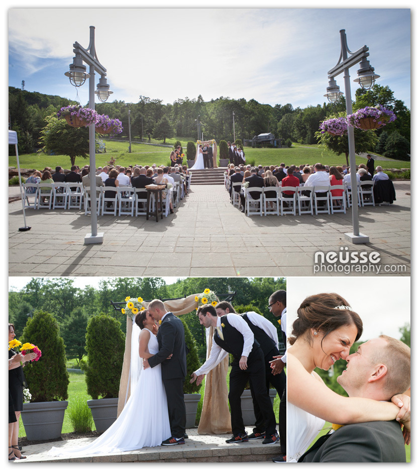 Summer outdoor wedding ceremony picture at bear creek mountain resort macungie pennsylvania captured by the best lehigh county wedding photographer Agnes of Neusse Photography