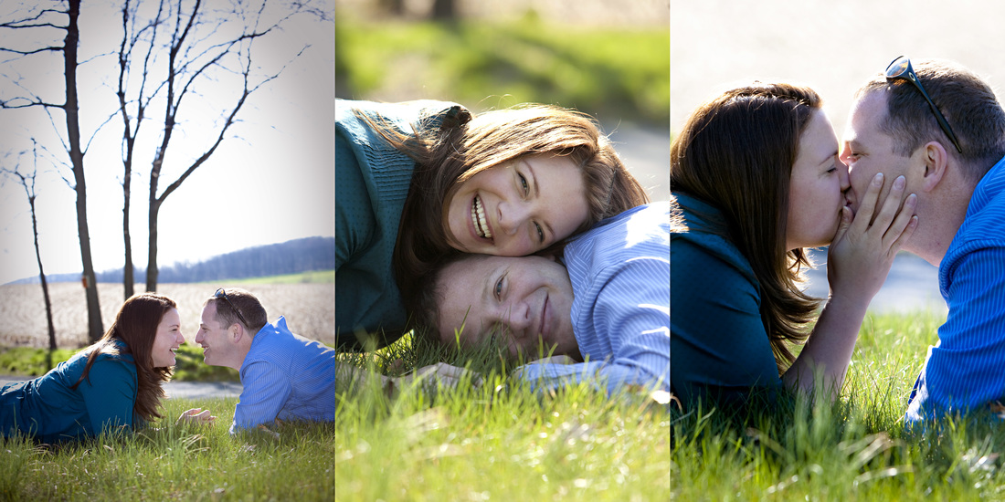 Three images in one of adorable couple sitting in the grass kissing, laughing and touching one another romantically.