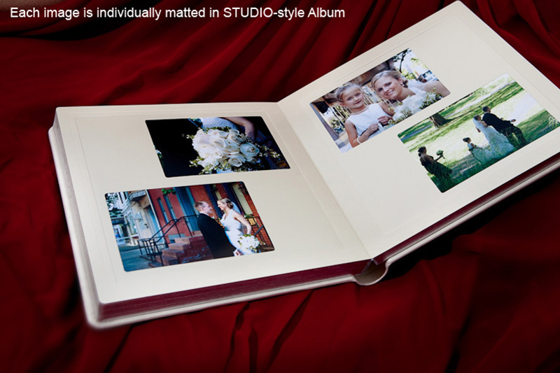 Studio album open in the middle with pearl color mats