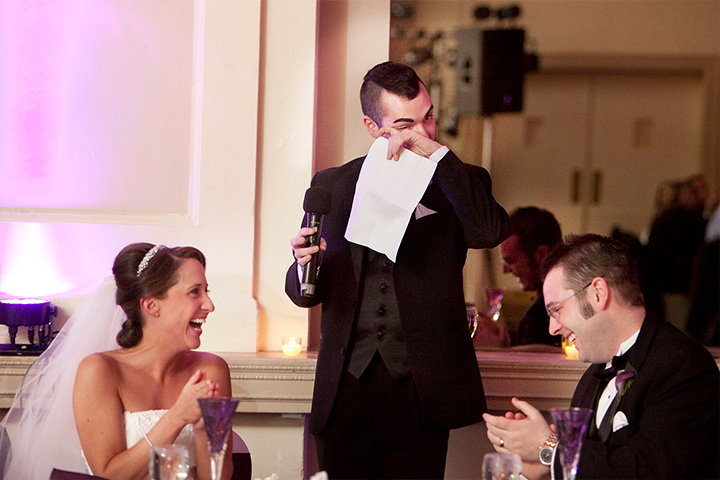 Best man tears up while giving a funny and touching speech to the newly weds.