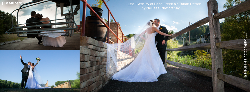 Couple portrait on their wedding day on ski lift and by the pond at Bear Creek Mountain Resort in Macungie Pennsylvania