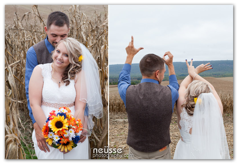 bride and groom intimate  wedding Picture in the farm field of corn stalks with love sign