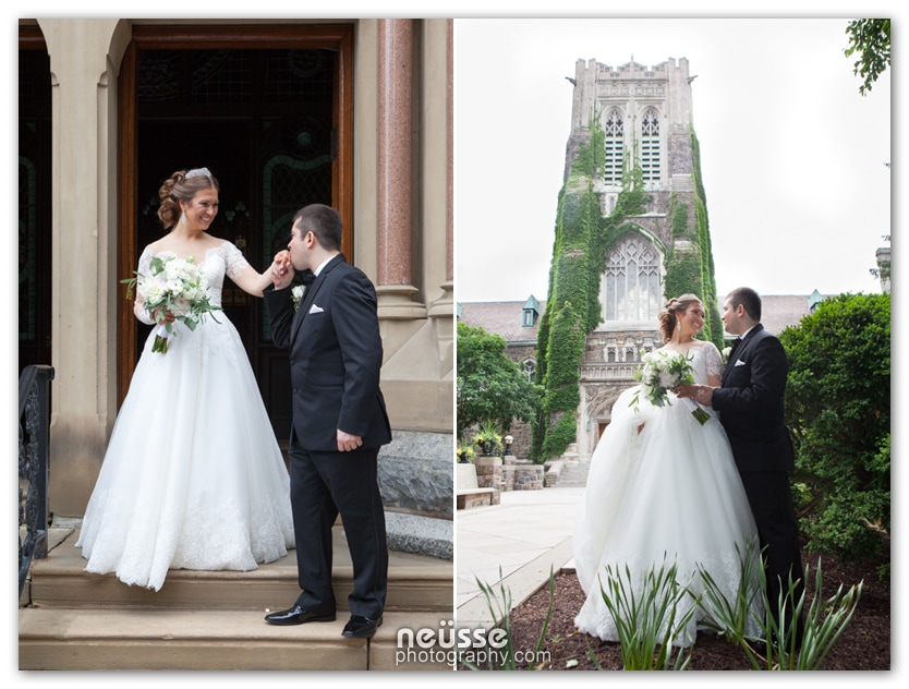 Wedding day Picture of the bride and groom kissing hand as groom leading the bride exiting church at Lehigh Universtiy Campus wedding portrait by Neusse Photography the premier wedding photographer in Lehigh Valley area.