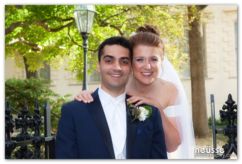 outdoor Picture of wedding couple bride and groom near hotel Bethlehem Lehigh Valley PA