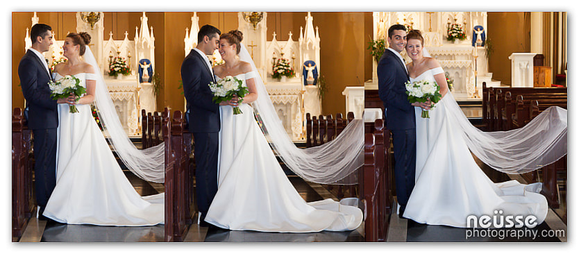 Picture of bride and groom at church series of blissful and happy reactions bride laughing